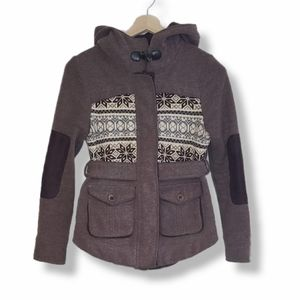 Three Stones Brown Fall jacket with belt.